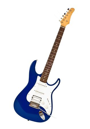 tremolo: blue electric guitar isolated on white