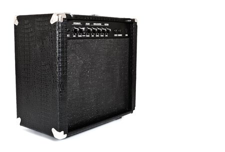 black guitar amplifier isolated on white photo