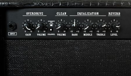 reverb: guitar amplifier control panel closeup Stock Photo