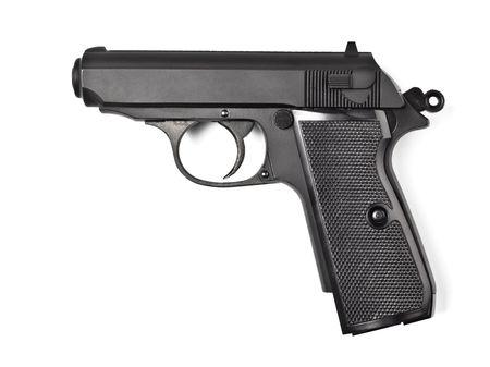 arsenal: black vintage police pistol isolated on white Stock Photo