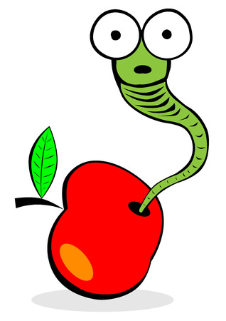 funny worm staring from apple Vector