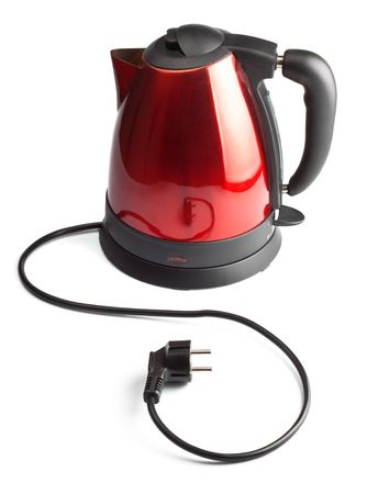 black appliances: red and black electrical tea kettle isolated on white