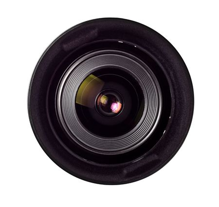 wide angle lens front isolated on white photo