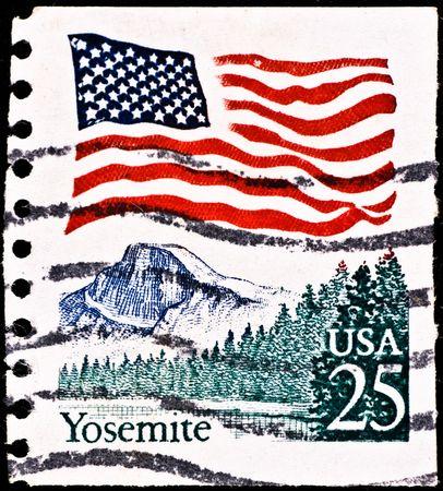 california flag: USA - CIRCA 1985: postage stamp with Yosemite National Park, circa 1985