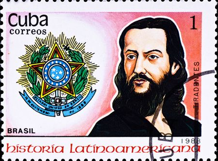 silva: CUBA - CIRCA 1988: postage stamp shows Brasil freedom fighter Jose da Silva Xavier aka Tiradentes, circa 1988