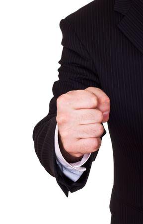 businessman fist on white background photo