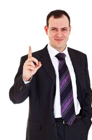 cerebro blanco y negro: sonriendo empresario elevar dedo hasta sobre fondo blanco