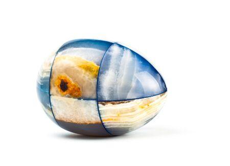 marble egg isolated on white photo