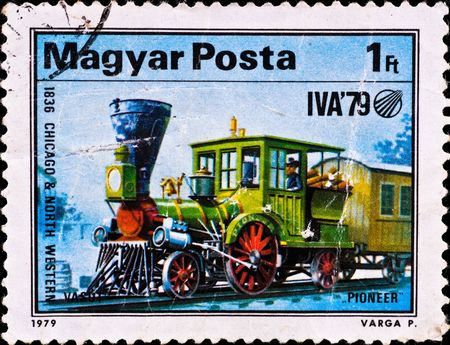 HUNGARY - CIRCA 1979: postage stamp shows locomotive Pioneer, circa 1979 photo