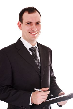 smiling businessman with pen and notepad isolated on white Stock Photo - 6310318