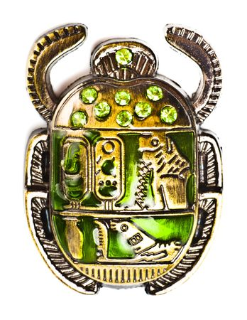 käfer: Scarab mit Edelsteine, die isoliert auf wei�