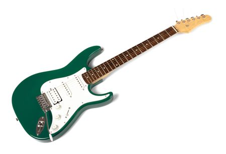 tremolo: green electric guitar isolated on white