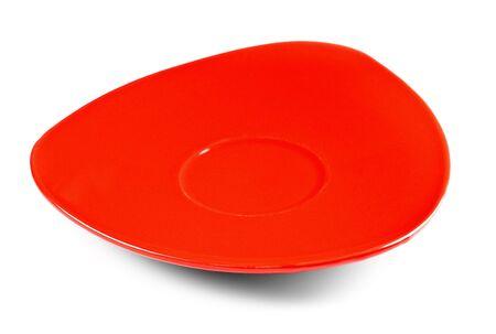 trigonal: red tea saucer isolated on white