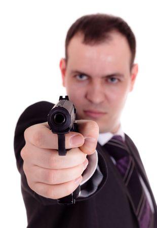 man with gun in hand photo
