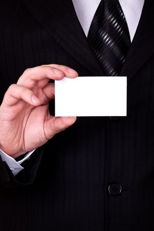 acquaintance: businessman show blank card closeup