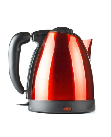 red and black electrical tea kettle isolated on white Stock Photo - 6338943