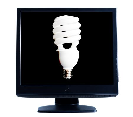 lcd screen shows lightbulb isolated on white background Stock Photo - 6383223