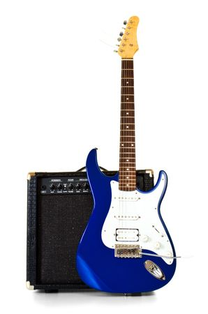electric guitar stand in front of amplifier isolated on white Stock Photo - 6418298