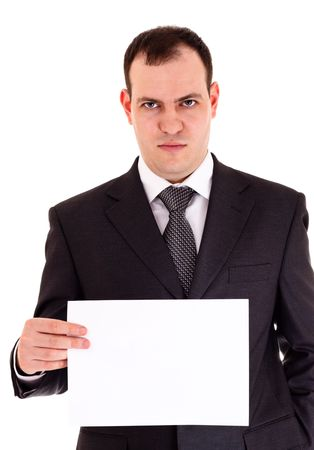dispossession: angry businessman show paper, white background