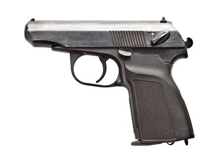 black vintage pistol isolated on white background Stock Photo - 6418325