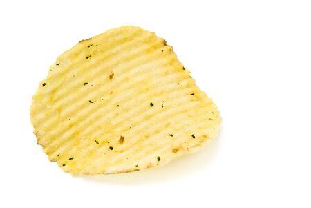 yellow potato chips closeup isolated on white background photo