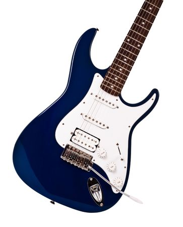 electric blue: blue electric guitar closeup isolated on white background