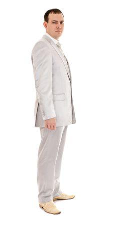 man in wedding suit, white background photo