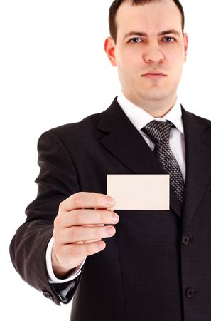 acquaintance: businessman show blank card, white background Stock Photo