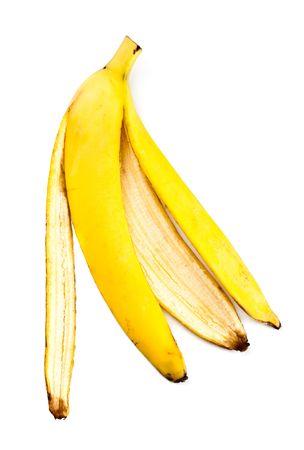banana skin isolated on white background photo