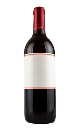aperitive: bottle of red wine isolated on white background