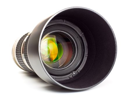 long lens with hood isolated on white background photo