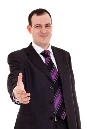 hands out: businessman ready shake hand, white background Stock Photo