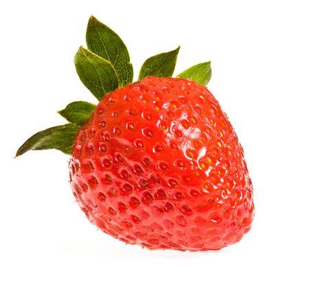 single ripe strawberry isolated on white background photo