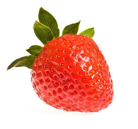 single ripe strawberry isolated on white background