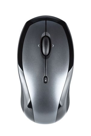 wireless computer mouse isolated on white background, top view