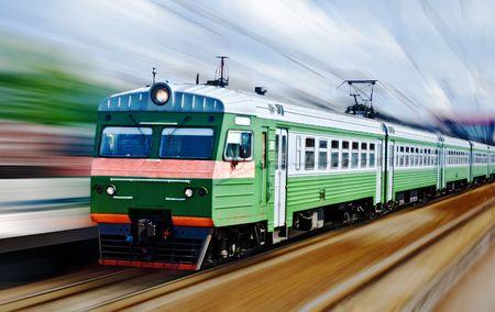 diesel locomotives: fast passanger train, motion blur
