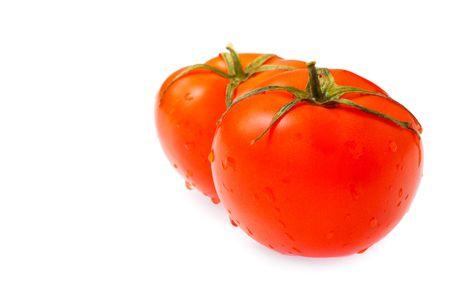 ripe tomatoes isolated on white background photo