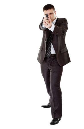 gunman ready to shoot, white background photo