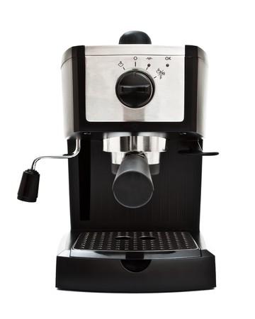 coffee maker: espresso machine front view, white background