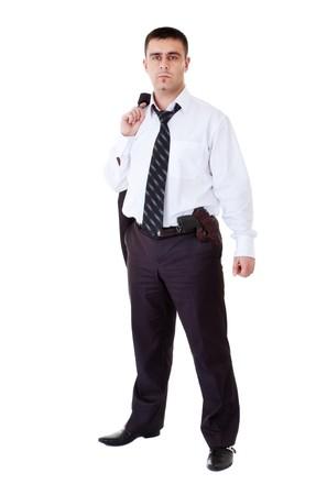 holster: joven en traje negro con ca��n en el cintur�n