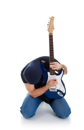 stratocaster: rocker playing guitar kneeling, white background