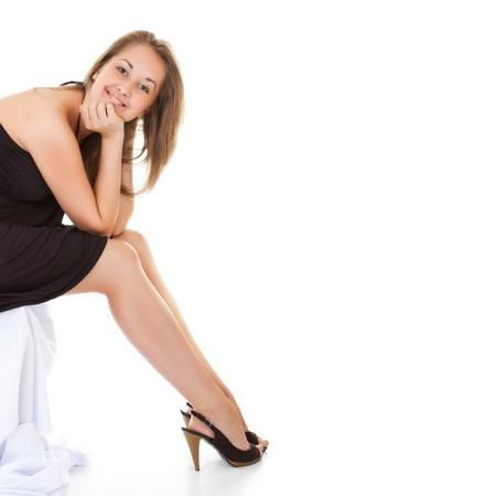pretty smiling girl, white background photo