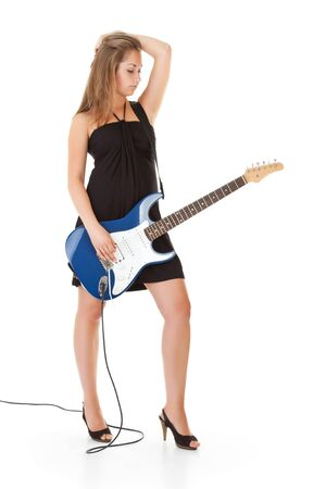 cute blonde girl with guitar, white background photo