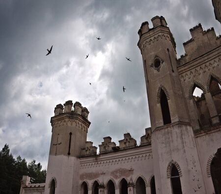 ancient castle under dark sky with birds Stock Photo - 7390954