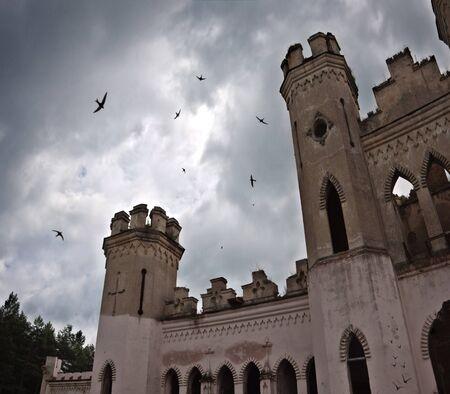horror castle: ancient castle under dark sky with birds