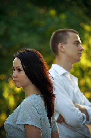 young couple in little quarrel Stock Photo