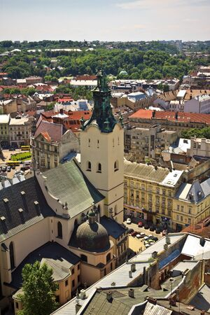 Lviv at summer, Ukraine, view from city hall photo