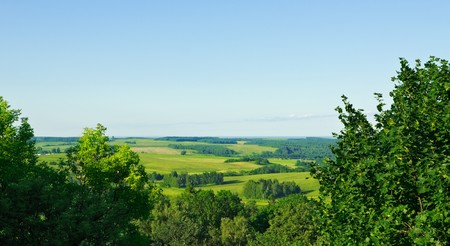 blue top: aerial view summer rural landscape Stock Photo