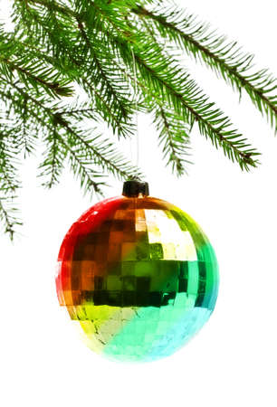 decoration ball on fir branch, white background Stock Photo - 8338760