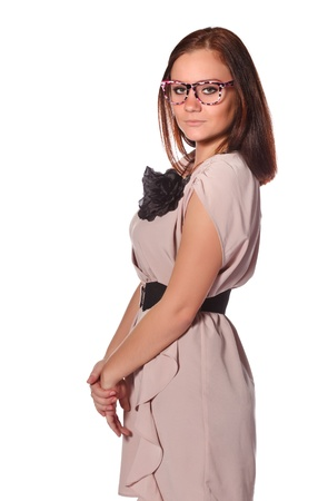 beautiful girl with funny pink eyeglasses photo